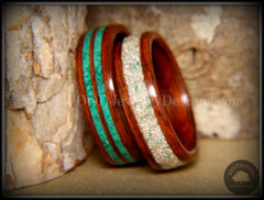 "Bentwood Rings Set - ""Green Coupled"" Rosewood Wood Rings with Malachite and Silver and Green Mix German Glass Inlay handcrafted bentwood wooden rings wood wedding ring engagement"