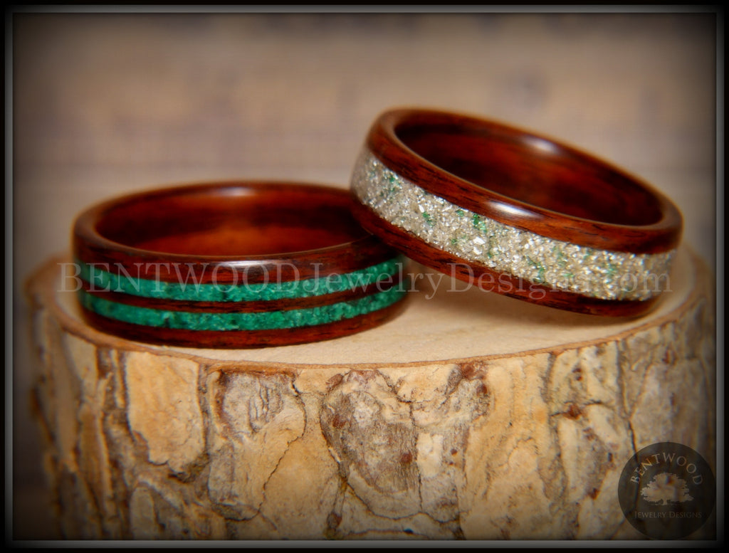"Bentwood Rings Set - ""Green Coupled"" Rosewood Wood Rings with Malachite and Silver and Green Mix German Glass Inlay - Bentwood Jewelry Designs - Custom Handcrafted Bentwood Wood Rings"