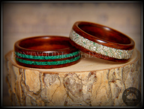 "Bentwood Rings Set - ""Green Coupled"" Rosewood Wood Rings with Malachite and Silver and Green Mix German Glass Inlay"