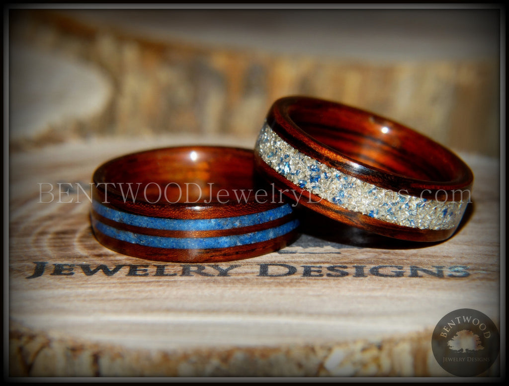 "Bentwood Rings Set - ""Blu Coupled"" Kingwood Wood Rings with Double Blue Lapis and Silver/Blue Glass Inlay - Bentwood Jewelry Designs - Custom Handcrafted Bentwood Wood Rings"