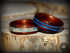 Bentwood Rings Set - Kingwood Wood Rings with Double Blue Lapis and Silver/Blue Glass Inlay - Bentwood Jewelry Designs - Custom Handcrafted Bentwood Wood Rings  - 3