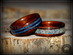 "Bentwood Rings Set - ""Blu Coupled"" Kingwood Wood Rings with Double Blue Lapis and Silver/Blue Glass Inlay handcrafted bentwood wooden rings wood wedding ring engagement"
