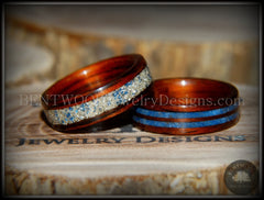 Bentwood Rings Set - Kingwood Wood Rings with Double Blue Lapis and Silver/Blue Glass Inlay - Bentwood Jewelry Designs - Custom Handcrafted Bentwood Wood Rings  - 2