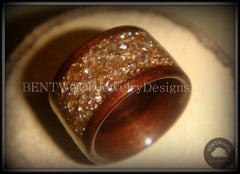 Bentwood Macassar Ebony Wood Ring with Bronze Glass Inlay - Bentwood Jewelry Designs - Custom Handcrafted Bentwood Wood Rings  - 4