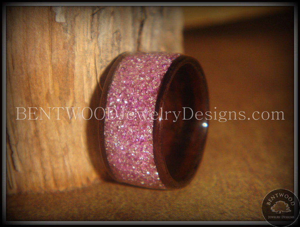 Bentwood Ring - Macassar Ebony Wood Ring with Crushed Lilac Glass Inlay - Bentwood Jewelry Designs - Custom Handcrafted Bentwood Wood Rings  - 1