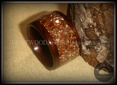 Bentwood Ring - Macassar Ebony Wood Ring with Bronze Glass Inlay - Bentwood Jewelry Designs - Custom Handcrafted Bentwood Wood Rings