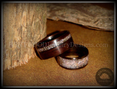 "Bentwood Rings Set - ""Grounded Pair"" Macassar Ebony Wood Rings with Charoite Inlay - Bentwood Jewelry Designs - Custom Handcrafted Bentwood Wood Rings"