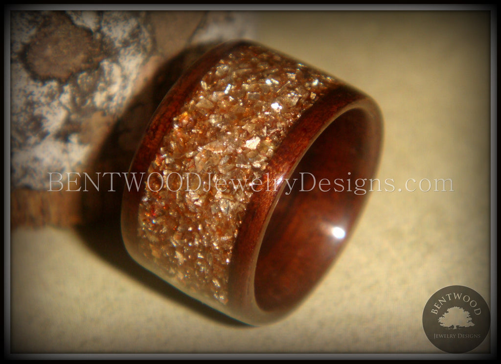 Bentwood Ring - Macassar Ebony Wood Ring with Bronze Glass Inlay - Bentwood Jewelry Designs - Custom Handcrafted Bentwood Wood Rings  - 1