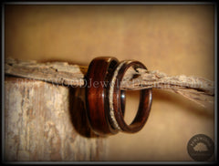 Bentwood Rings Set - Ebony Wood Ring Set with Glass Inlay - Bentwood Jewelry Designs - Custom Handcrafted Bentwood Wood Rings
