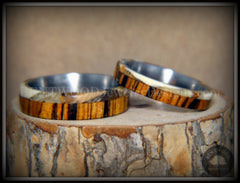 "Bentwood Rings Set - ""Mammoth"" Fossil and Goncalo Alves on Titanium Core handcrafted bentwood wooden rings wood wedding ring engagement"