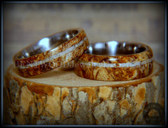 Bentwood Rings Set - Maple Burl on Surgical Steel Core with Cremation Ashes Inlay handcrafted bentwood wooden rings wood wedding ring engagement