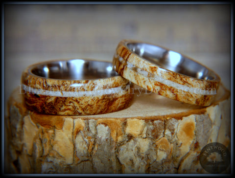 Bentwood Rings Set - Maple Burl on Surgical Steel Core with Cremation Ashes Inlay