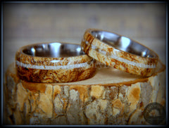 Bentwood Rings Set - Maple Burl on Surgical Steel Core with Cremation Ashes Inlay - Bentwood Jewelry Designs - Custom Handcrafted Bentwood Wood Rings