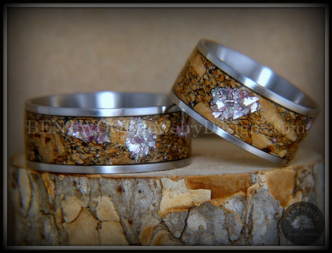 "Bentwood Rings Set - ""Figured Brown Amtheyst"" Mediterranean Oak Burl on Surgical Steel Core"