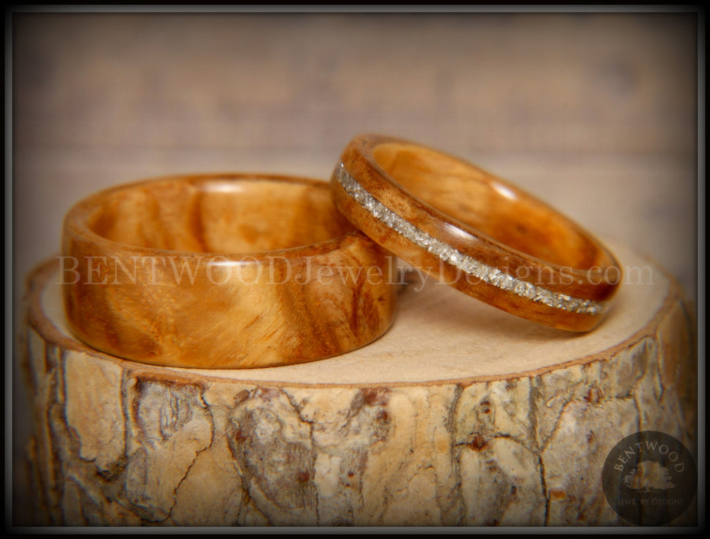 Bentwood Rings Set - Bethlehem Olivewood Wood Ring Set with Silver Glass Inlay handcrafted bentwood wooden rings wood wedding ring engagement