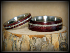 "Bentwood Rings Set - ""Purple Heart Pair"" Purpleheart Wood with Silver Glass Inlay Surgical Steel Cores handcrafted bentwood wooden rings wood wedding ring engagement"