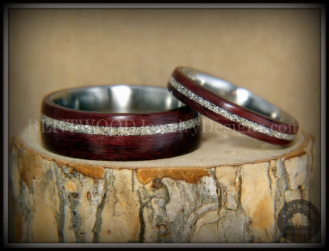 "Bentwood Rings Set - ""Purple Heart Pair"" Purpleheart Wood with Silver Glass Inlay Surgical Steel Cores"