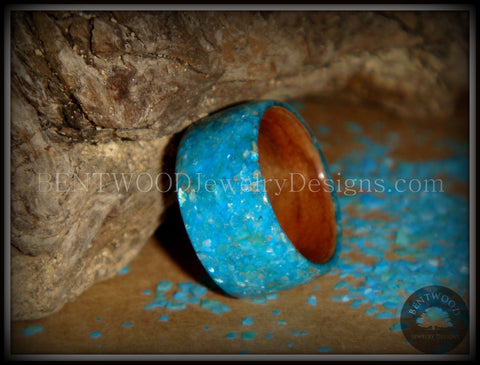 Bentwood Ring - Australian Red Gum Wood Ring with Full Turquoise Mother of Pearl Inlay