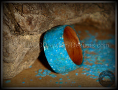 Bentwood Rings - Australian Red Gum Wood Ring with Full Turquoise Mother of Pearl Inlay - Bentwood Jewelry Designs - Custom Handcrafted Bentwood Wood Rings  - 1