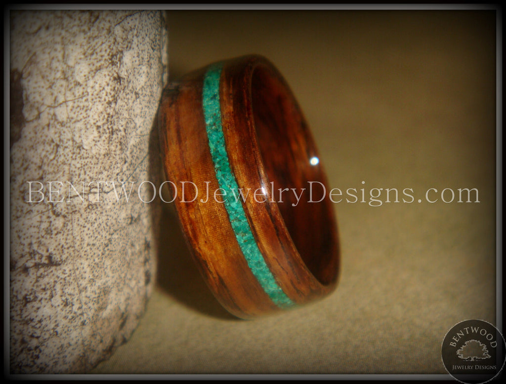 Bentwood Rings - Rosewood Wood Ring with Offset Malachite Inlay - Bentwood Jewelry Designs - Custom Handcrafted Bentwood Wood Rings  - 1