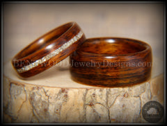"Bentwood Rings Set - ""Classic Couple"" Rosewood Ring Set with Glass Inlay handcrafted bentwood wooden rings wood wedding ring engagement"