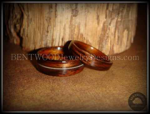 Bentwood Rings Set - Rosewood Wooden Ring Set with Guitar String Inlay and Classic Wood