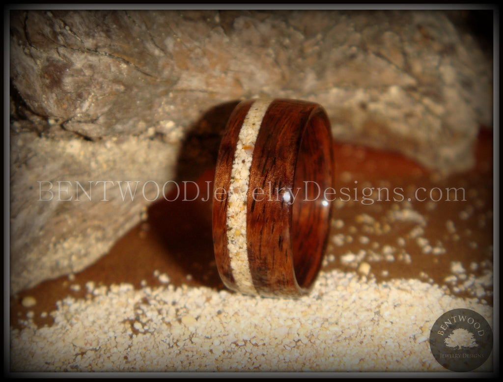 Bentwood Rings - Rosewood Ring with Hawaiian Beach Sand Inlay - Bentwood Jewelry Designs - Custom Handcrafted Bentwood Wood Rings  - 1
