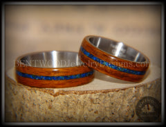 Bentwood Rings Set - Rosewood on Titanium Core with Azurite and Malachite Inlay handcrafted bentwood wooden rings wood wedding ring engagement