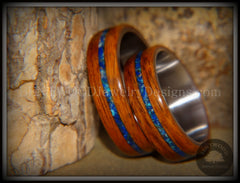 Bentwood Rings Set - Rosewood on Surgical Steel Core with Azurite and Malachite Inlay handcrafted bentwood wooden rings wood wedding ring engagement