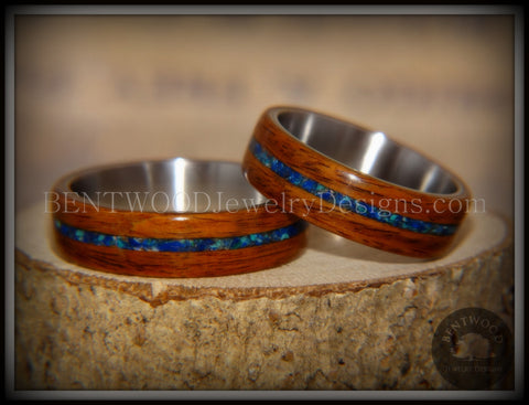 Bentwood Rings Set - Rosewood on Surgical Steel Core with Azurite and Malachite Inlay