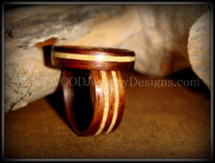 Bentwood Rings Set - Rosewood Wooden Ring Set with Fossil Inlays - Bentwood Jewelry Designs - Custom Handcrafted Bentwood Wood Rings  - 3