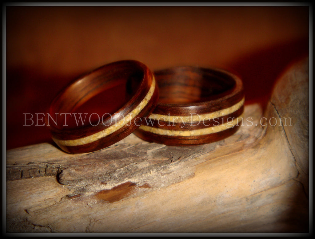 Bentwood Rings Set - Rosewood Wooden Ring Set with Fossil Inlays - Bentwood Jewelry Designs - Custom Handcrafted Bentwood Wood Rings