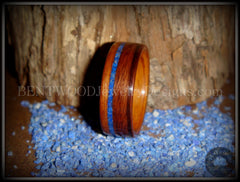 Bentwood Ring - Santos Rosewood Wooden Ring with Offset Blue Lapis Inlay handcrafted bentwood wooden rings wood wedding ring engagement