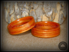 "Bentwood Rings Set - ""Tennessee Tulip Pair"" Classic Tulipwood handcrafted bentwood wooden rings wood wedding ring engagement"