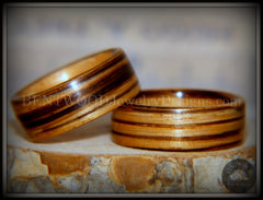 "Bentwood Rings Set - ""Zebrawood Pair"" Classic Zebra Wood handcrafted bentwood wooden rings wood wedding ring engagement"