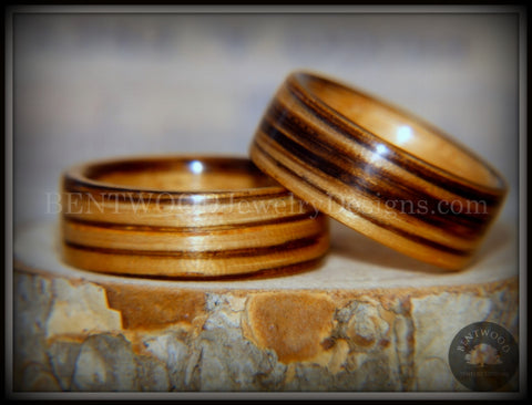 "Bentwood Rings Set - ""Zebrawood Pair"" Classic Zebra Wood"