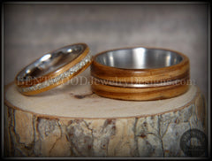 Bentwood Rings Set - Zebrawood with Glass Inlay and Bronze Guitar String Inlay on Stainless Steel Core handcrafted bentwood wooden rings wood wedding ring engagement