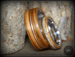 "Bentwood Rings Set - ""Striped Couple"" Zebrawood with Glass Inlay and Bronze Guitar String Inlay on Titanium Steel Core handcrafted bentwood wooden rings wood wedding ring engagement"