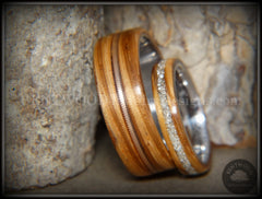 Bentwood Rings Set - Zebrawood Ring Set with Glass Inlay and Bronze Guitar String Inlay - Bentwood Jewelry Designs - Custom Handcrafted Bentwood Wood Rings  - 3