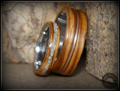Bentwood Rings Set - Zebrawood Ring Set with Glass Inlay and Bronze Guitar String Inlay - Bentwood Jewelry Designs - Custom Handcrafted Bentwood Wood Rings  - 4