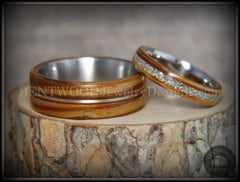 Bentwood Ring Set - Zebrawood with Glass Inlay and Bronze Guitar String Inlay on Stainless Steel Core - Bentwood Jewelry Designs - Custom Handcrafted Bentwood Wood Rings