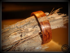 Bentwood Ring - Bubinga Wood and Transverse Sand Inlay Accent - Bentwood Jewelry Designs - Custom Handcrafted Bentwood Wood Rings
