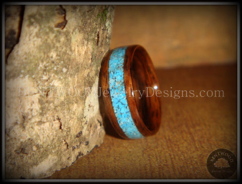 Bentwood Ring - E. Indian Rosewood Ring with Turquoise Inlay