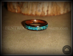Bentwood Ring - Macassar Ebony Wood Ring and Chrysocolla Stone Inlay - Bentwood Jewelry Designs - Custom Handcrafted Bentwood Wood Rings