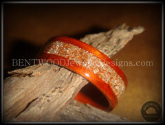 Bentwood Ring - African Padauk Wood Ring with German Silver and Copper Glass Inlay - Bentwood Jewelry Designs - Custom Handcrafted Bentwood Wood Rings  - 5