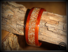 Bentwood Ring - African Padauk Wood Ring with German Silver and Copper Glass Inlay - Bentwood Jewelry Designs - Custom Handcrafted Bentwood Wood Rings  - 4