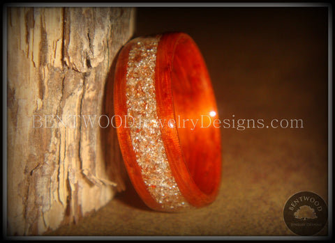 Bentwood Ring - African Padauk Wood Ring with German Silver and Copper Glass Inlay