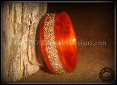 Bentwood Ring - African Padauk Wood Ring with German Silver and Copper Glass Inlay - Bentwood Jewelry Designs - Custom Handcrafted Bentwood Wood Rings  - 1