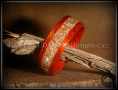 Bentwood Ring - African Padauk Wood Ring with German Silver and Copper Glass Inlay - Bentwood Jewelry Designs - Custom Handcrafted Bentwood Wood Rings  - 2