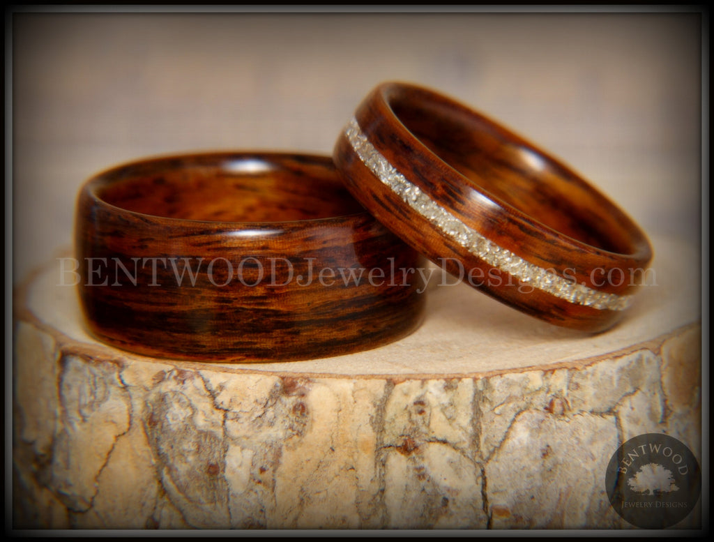 "Bentwood Rings Set - ""Classic Couple"" Rosewood Ring Set with Glass Inlay - Bentwood Jewelry Designs - Custom Handcrafted Bentwood Wood Rings"